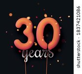 30 years sign orange balloons... | Shutterstock .eps vector #1837421086