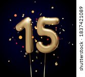 15 sign golden balloons with... | Shutterstock .eps vector #1837421089