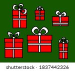 collection of christmas gifts... | Shutterstock .eps vector #1837442326