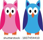 vector illustration of two cute ... | Shutterstock .eps vector #1837454410