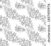 black and white seamless floral ... | Shutterstock . vector #1837455976