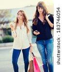 beautiful girls with shopping... | Shutterstock . vector #183746054