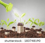 watering can pouring molten... | Shutterstock . vector #183748190