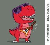 cool dinosaur playing guitar....   Shutterstock .eps vector #1837608706