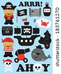 pirate objects collection.... | Shutterstock .eps vector #183761270