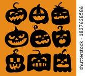 set pumpkin on white background.... | Shutterstock . vector #1837638586