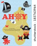 pirate card design. vector... | Shutterstock .eps vector #183763964