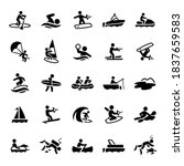 Water Recreation Icons stock illustration। paddleboarding, swimming, wakeboarding, boating, watercraft, parasailing, windsurfing, water polo, water skiing, wakesurfing, surfing, whit water rafting,