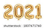 Gold foil balloons numeral 2021....