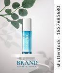 beauty blue product bottle on a ... | Shutterstock .eps vector #1837685680
