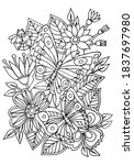 coloring page. butterflies and...   Shutterstock .eps vector #1837697980