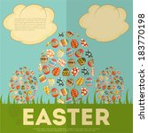 easter card with easter eggs.... | Shutterstock .eps vector #183770198
