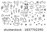 doodle fox black and white... | Shutterstock .eps vector #1837702390