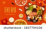 reunion dinner banner  asian... | Shutterstock .eps vector #1837704106