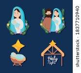 nativity  manger joseph mary... | Shutterstock .eps vector #1837710940