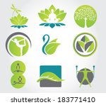 Set of yoga and fitness, colorful icons. Vector illustration