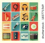 flat icons music set | Shutterstock .eps vector #183771569