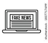 Laptop Fake News Icon. Outline...