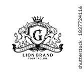 heraldry lion brand logo design | Shutterstock .eps vector #1837724116