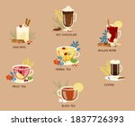 set of winter beverages in... | Shutterstock .eps vector #1837726393