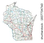 Wisconsin road and highway map. Vector illustration.