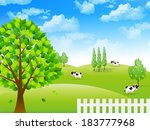 cattle ranch landscape | Shutterstock .eps vector #183777968