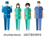 nurses in protective masks and... | Shutterstock .eps vector #1837805893