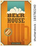Beer house poster with retro design. Vector illustration.