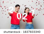 smiling happy asian couple in... | Shutterstock . vector #1837833340
