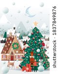 christmas village greetings... | Shutterstock .eps vector #1837849876