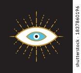 evil eye icon on black... | Shutterstock .eps vector #1837860196