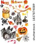halloween watercolor... | Shutterstock . vector #1837874089