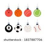 sport christmas balls set.... | Shutterstock .eps vector #1837887706