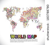 colorful   dotted world map | Shutterstock .eps vector #183788780