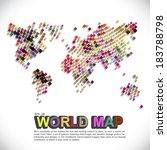 colorful   dotted world map | Shutterstock .eps vector #183788798
