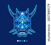 Blue Oni Mask Vector...