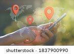 man hand using smartphone with... | Shutterstock . vector #1837900990