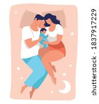 a young family sleeps with a... | Shutterstock .eps vector #1837917229