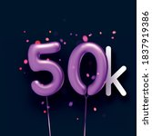 50k sign violet balloons with... | Shutterstock .eps vector #1837919386