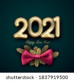 golden foil balloon 2021 sign... | Shutterstock .eps vector #1837919500