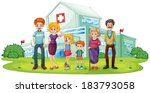 illustration of a big family... | Shutterstock .eps vector #183793058