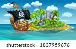 a wooden pirate ship with sails ... | Shutterstock .eps vector #1837959676