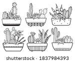 set of cactus in pots.... | Shutterstock .eps vector #1837984393