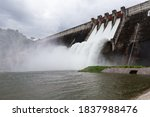 Water falling from the spillway of the concrete dam, it is overflow way of over-water in rainy season.