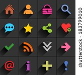 16 basic sign flat icon with...
