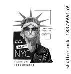 typography slogan with liberty... | Shutterstock .eps vector #1837996159
