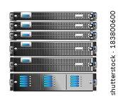 rack  of five servers isolated | Shutterstock .eps vector #183800600