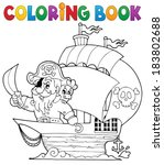 coloring book ship with pirate... | Shutterstock .eps vector #183802688