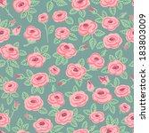seamless pattern of roses.... | Shutterstock .eps vector #183803009