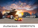 Container Truck In Ship Port...